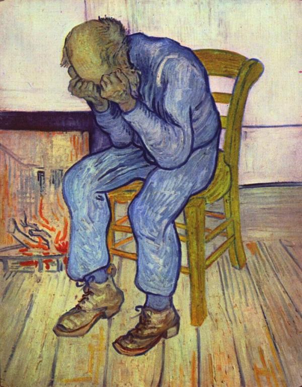 Στο κατώφλι της αιωνιότητας πίνακας του Βίνσεντ Bαν Γκογκ από τα 1890 που συμβολίζει την απόγνωση που χαρακτηρίζει την κατάθλιψη