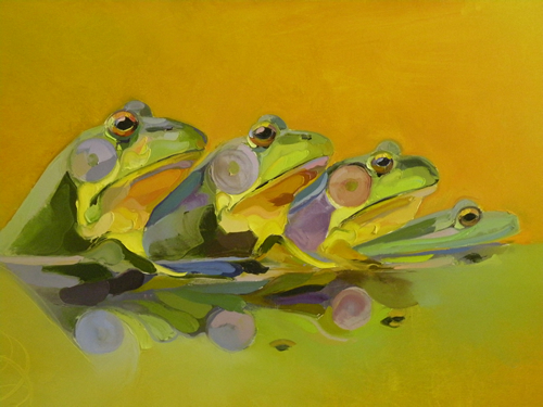 ransley Four Frogs on Yellow