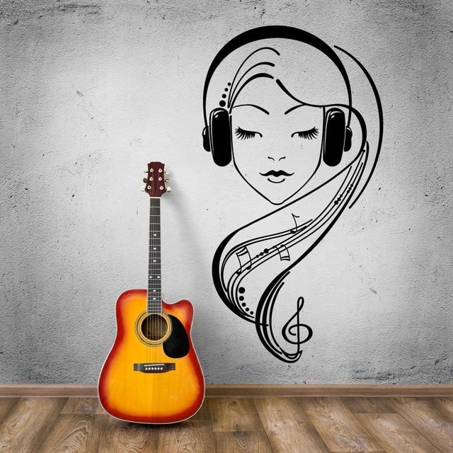 Hot Vinyl Wall Decal Beautiful Girl Music Lover Headphones Wall Stickers Modern Removable Home Decoration KW.jpg 640x640