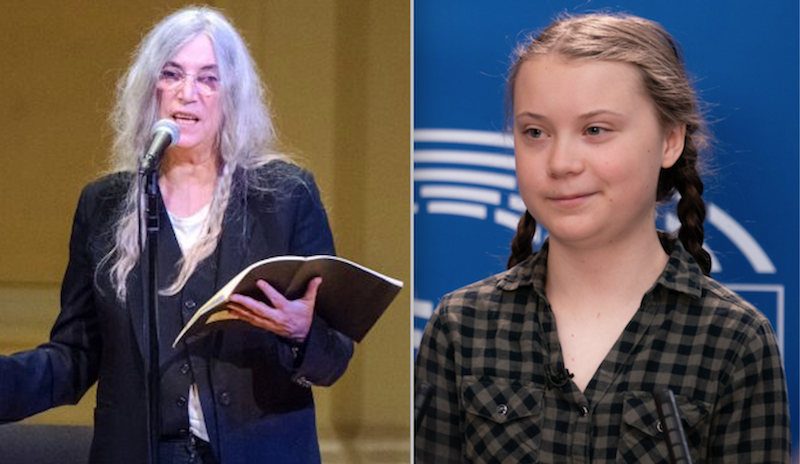 Patti Smith photo by Ben Kaye and Greta Thunberg photo via FlickrEuropean Parliament