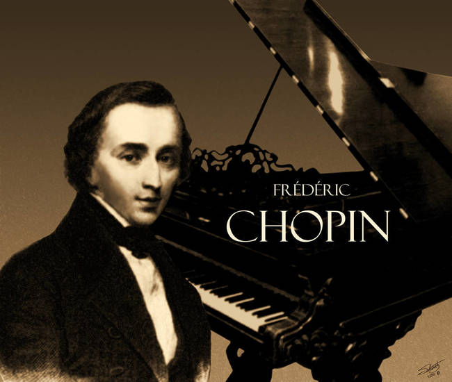 Portrait of Chopin with Piano art