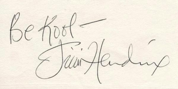jimi hendrix autograph be kool inscription